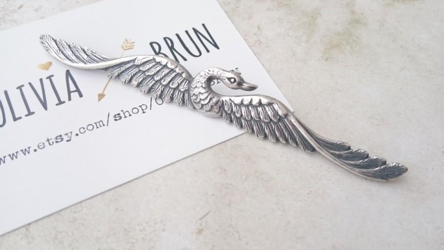 b44f52261571 Antique Silver Swan Hair Pin Silver Swan Bobby Pin Hair Clip Hair  Accessories Wedding Accessories