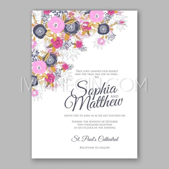 wedding invitation card template with magenta and navy blue rose unique vector illustrations. Black Bedroom Furniture Sets. Home Design Ideas