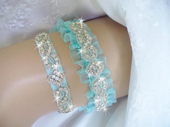 Свадьба - Garter, Aqua Wedding Garter Set, Bridal Garter Belts, Toss Garter, Wedding Garder, Something Blue Organza Garter, Rhinestone Wedding Garter