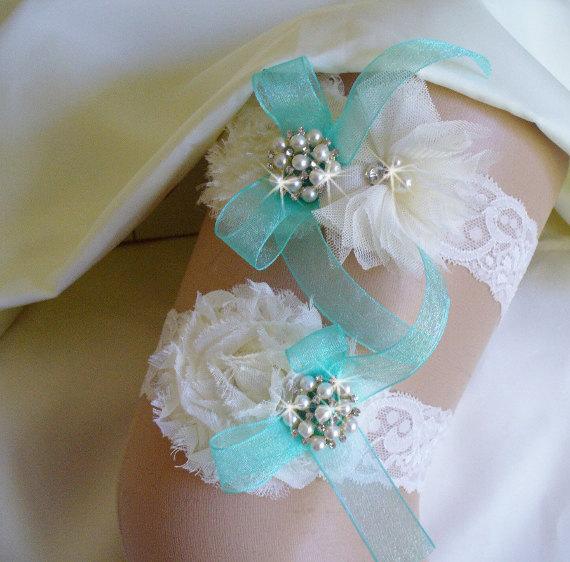 Свадьба - Bridal Garter/ Ivory Wedding Garter Set/ Aqua Blue Garter/ White Lace Garter/ Rhinestone Garter/ Bridal Accessories/ Crystal Garter
