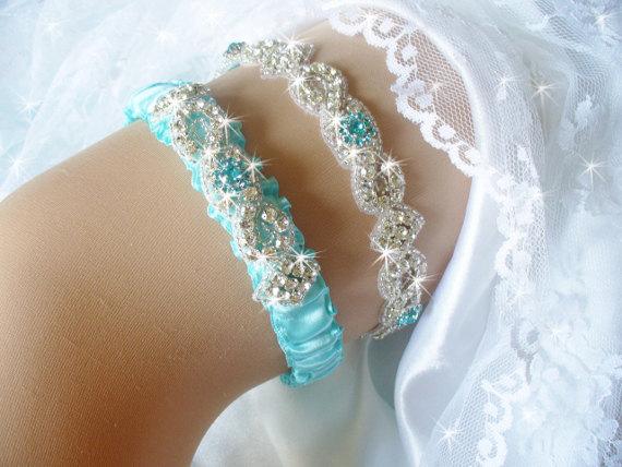 Свадьба - Aqua Blue Wedding Garter Set with Rhinestones, Bridal Garter Belts, Something Blue Wedding Garter, Crystal Bridal Garder, Wedding Lingerie