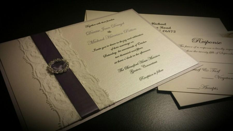 Mariage - Ivory Lace and Lavender Ribbon Wrapped Elegant Wedding Invitation with Crystal Accent