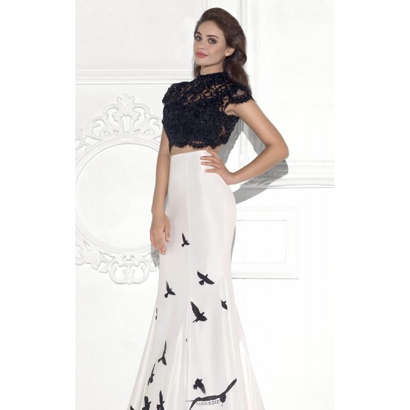 Wedding - Original Two-Piece Butterfly Printed Satin Gown by Tarik Ediz - Color Your Classy Wardrobe