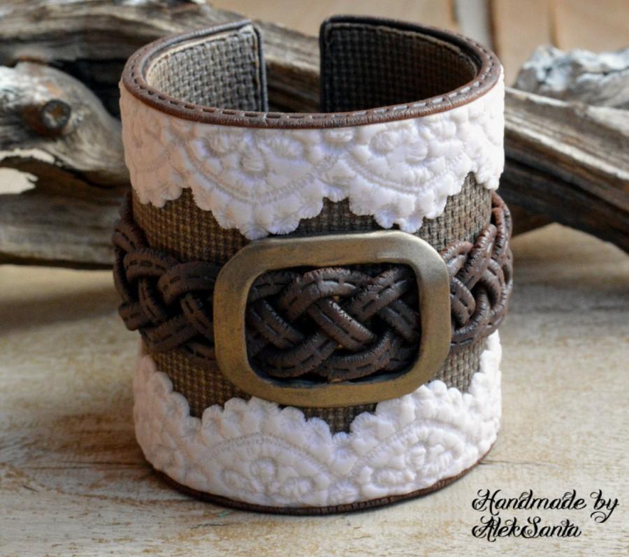 Свадьба - Boho bracelet Rustic cuff Boho jewelry Boho cuff Rustic bracelet Wide bracelet Country bracelet Beige bracelet Brown bracelet Lace .smn