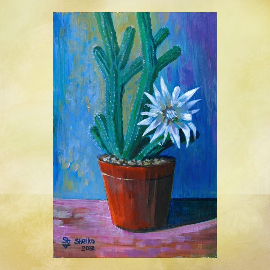 Свадьба - Cactus painting, original painting, acrylic painting, flowering cactus, still life painting, still life cactus, Cactus art, Plants painting