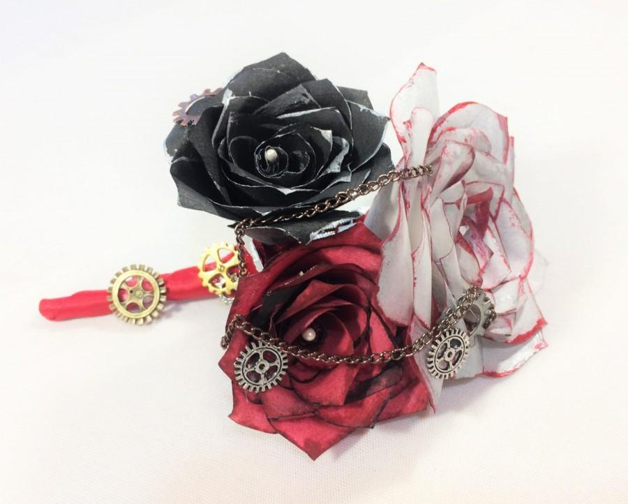 Wedding - Silver, black and red Steampunk boutonniere using handcrafted paper roses, Men's buttonhole flower, Prom boutonniere, Mom corsage