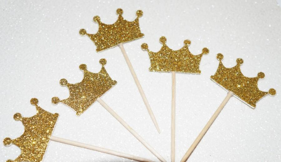 Glitter Crown Cupcake Toppers, Princess Birthday Party, Crown Toppers, Gold  Crown Cupcake Toppers, Table Decorations, Gold Glitter Party