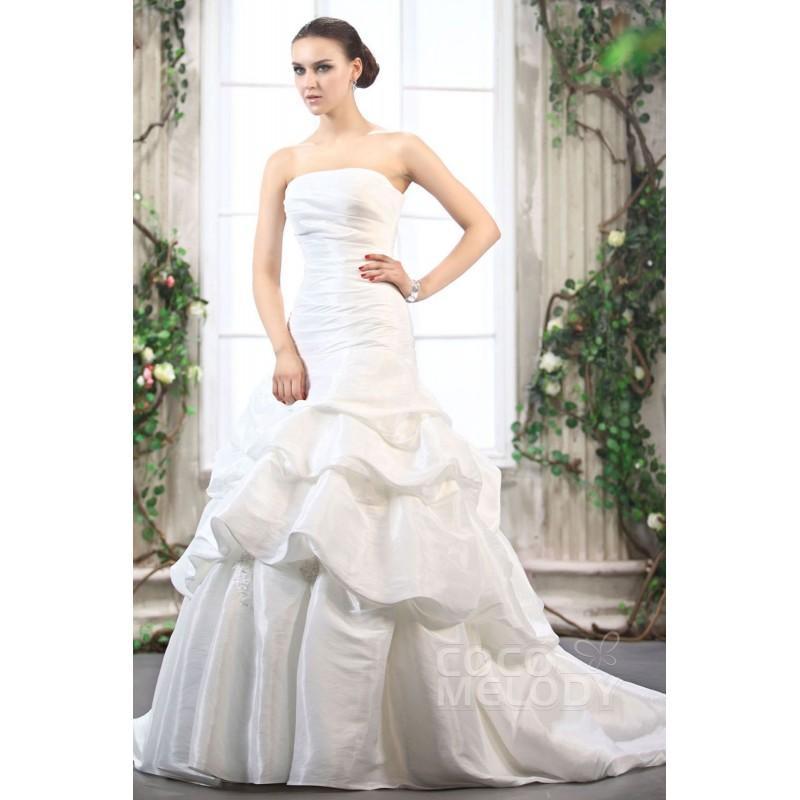 Wedding - Perfect A-Line Strapless Court Train Taffeta Wedding Dress CWZT1301B - Top Designer Wedding Online-Shop