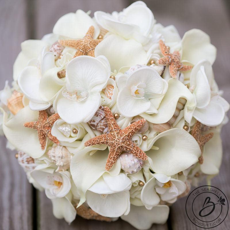 Mariage - Gold beach bouquet, seashell and starfish bouquet, calla lily orchids bouquet, shell wedding bouquet, sugar starfish, gold bridal bouquet