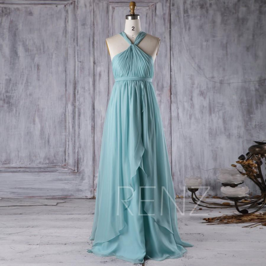 Свадьба - 2017 Turquoise Chiffon Bridesmaid Dress with Ruffle, Y Neck Pleated Bodice Wedding Dress, A Line Long Prom Dress Floor Length (T175)