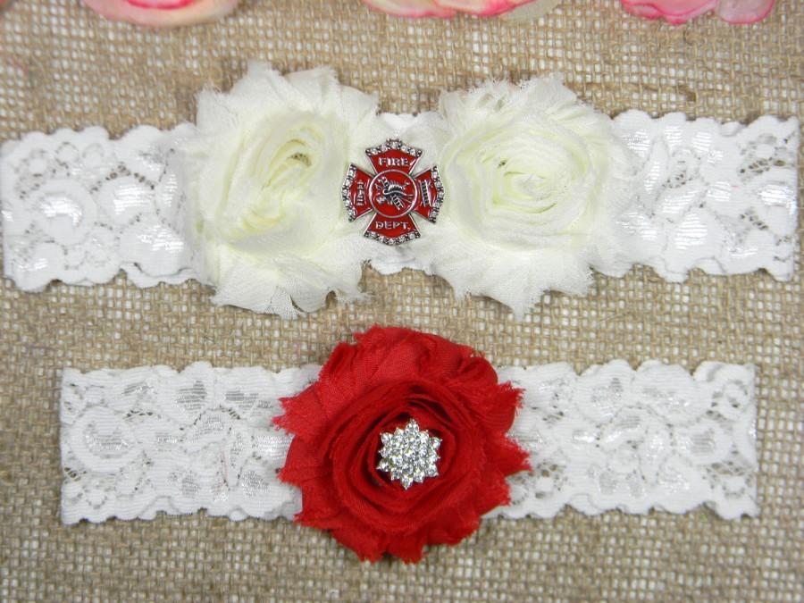 Mariage - Firefighter Wedding Garter Set, Fireman Bridal Garter and Toss Garter Set, Fire Dept Garter, Red and Ivory Shabby Flower Garter, Lace Garter