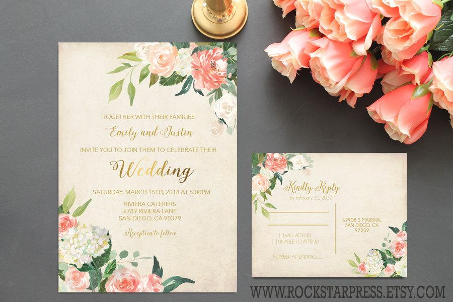 Hochzeit - Floral Watercolor Wedding Invitation Plush and Gold Wedding Invite RSVP Digital Printable Files _1282