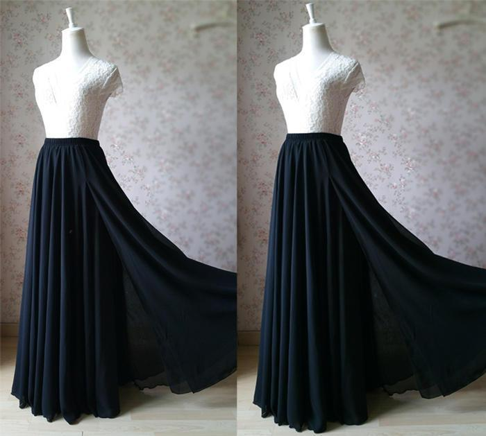 17b3f5e81 2017 Black CHIFFON MAXI SKIRT Split Maxi Skirt Women Maxi Skirt, Beach  Wedding Bridesmaid Skirt, Summer Split Chiffon Skirt, Any Size (WS37)