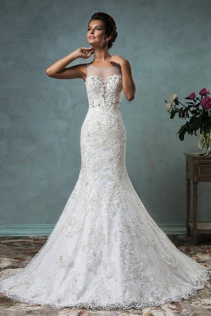 Свадьба - Romantic Wedding Dress, Button Scoop Sleeveless Lace