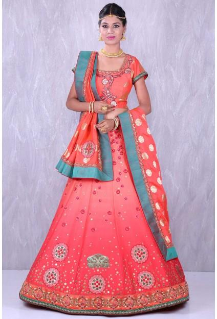 466fcc15f0 Buy Shaded orange & gold delightful raw silk lehenga choli with applique  work Online
