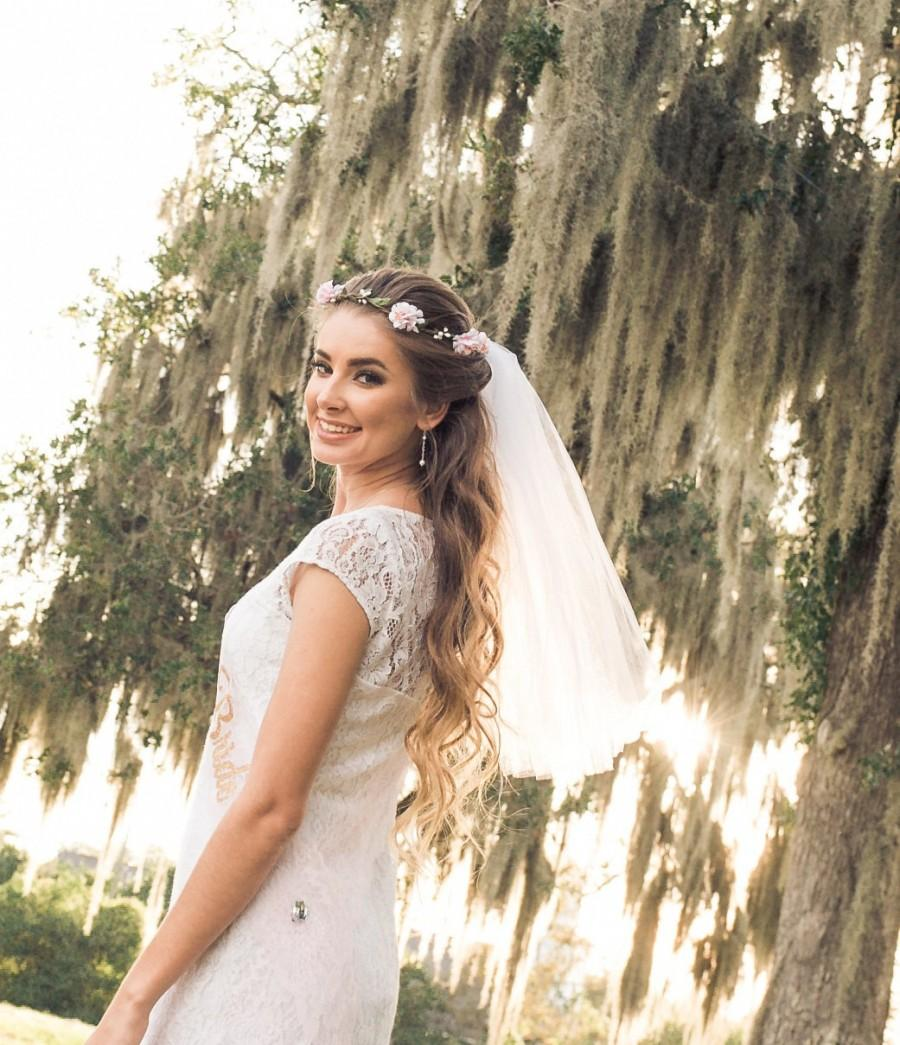 Boho Flower Crown Veil Boho Bachelorette Veil Boho Flower