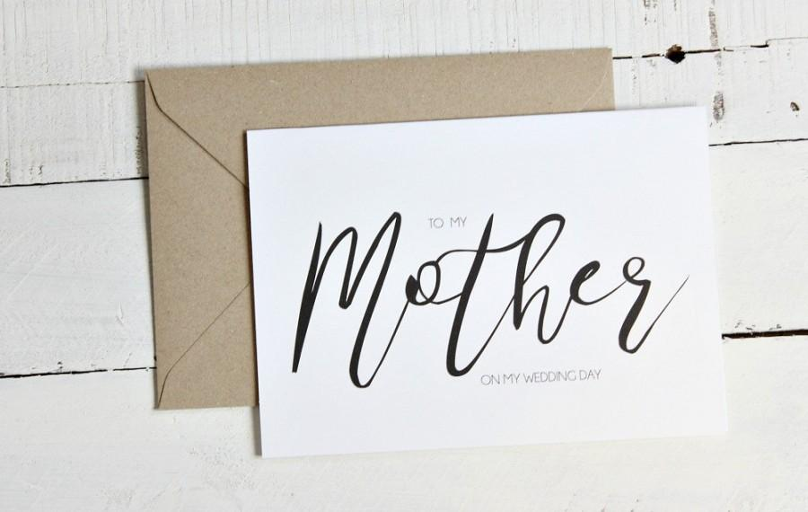 Mariage - Mother of the Bride Gift Card, Mother of the Groom Gift Card, Calligraphy Cards, To my Mother on my Wedding Day, Mother Wedding Gift