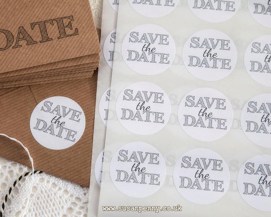 Hochzeit - Save the Date Sticker 40mm (1 1/2in), Invitation Seals, Envelope Seals, Labels, Parcel Stickers -  PSS052
