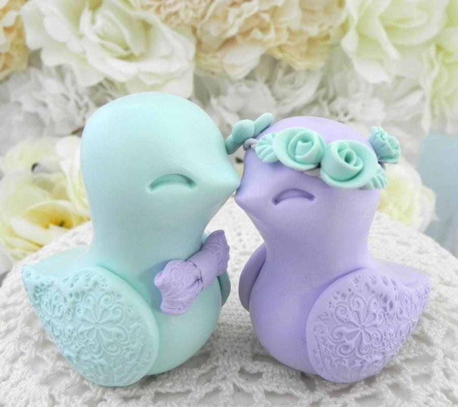 Wedding - Love Birds Wedding Cake Topper, Lilac Purple and Mint Green, Bride and Groom Keepsake, Fully Custom