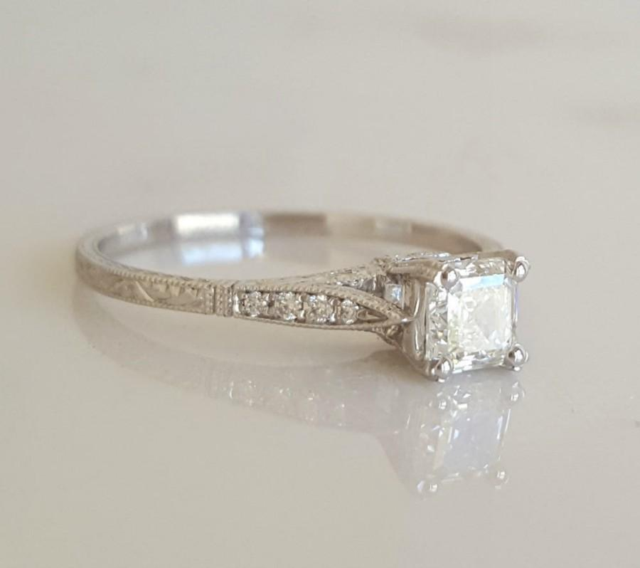 a4b92f5e9dbcd Square Emerald Cut Solitaire Ring With Diamond Accents, Asscher Cut ...