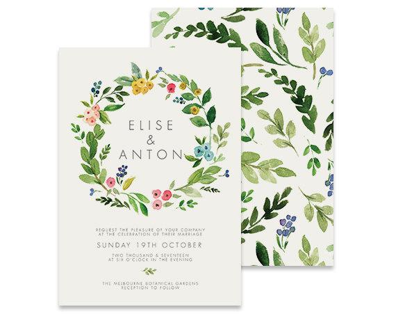 Свадьба - Wreath Wedding Invitation