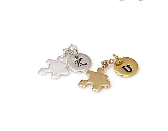 Wedding - Puzzle Piece Pendant, Silver or Gold Jigsaw Puzzle Piece Charm, Personalized Stamped Initial, Graduation Gift, Birthday, whithout the chain