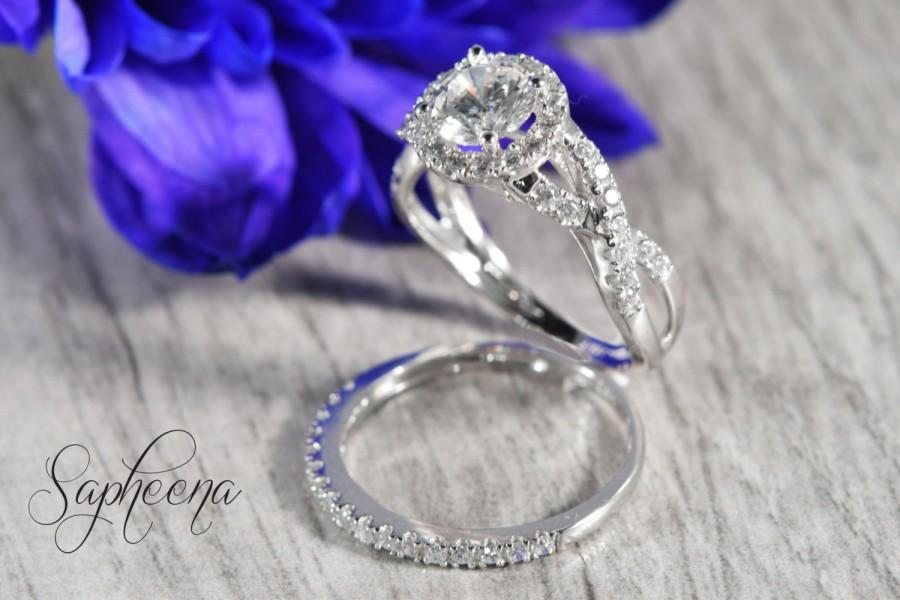 Wedding - Round Cut Halo with Accent Ring Band Set of 2 in Solid 14K White Gold,Bridal Ring Set made to order,  Wedding Ring, Unique Set by Sapheena