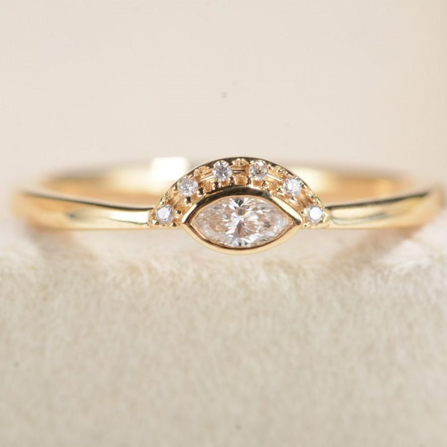 Marquise Engagement Ring Marquise Cut Diamond Ring Yellow Gold