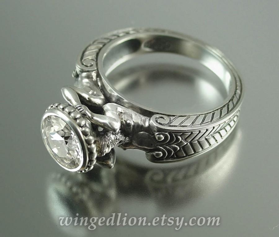 Hochzeit - CARYATID Silver Ring with White Topaz
