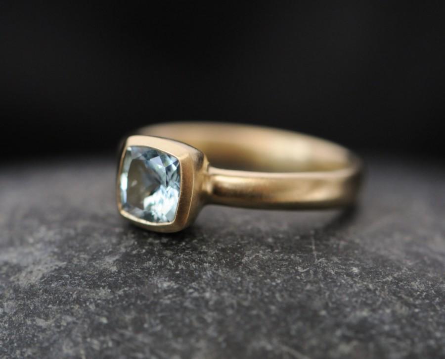 Mariage - 18k Gold Aquamarine Engagement Ring - Aquamarine Gold Ring - 18k Gold Aquamarine Cushion Ring - Free Shipping