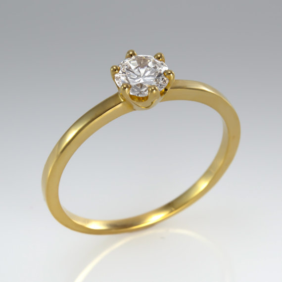 Wedding - Promise ring - Engagement ring - Promise solitaire - Wedding ring - Bridal ring - Diamond ring - Solitaire ring - Rose gold ring