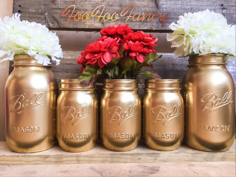 Wedding - SALE!! SET OF 5 gold mason jars. Centerpieces. Gold decor. Home decor.