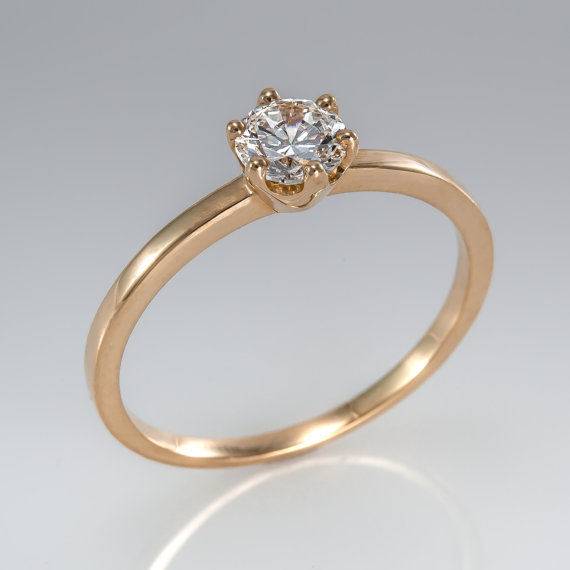 Свадьба - Promise ring - Engagement ring - Promise solitaire - Wedding ring - bridal ring - Diamond ring - Solitaire ring - Rose gold ring