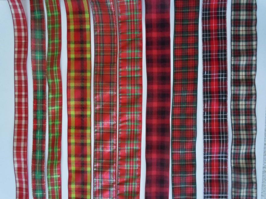 christmas plaid wired ribbon country plaid wired ribbon country plaid christmas decor winter wedding decor gift wrap ribbon