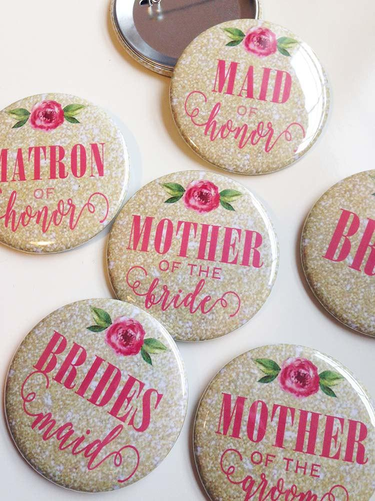 Свадьба - Gold Glitter and Pink Peony - Bridal Shower/Bachelorette Pins (pack of 7)