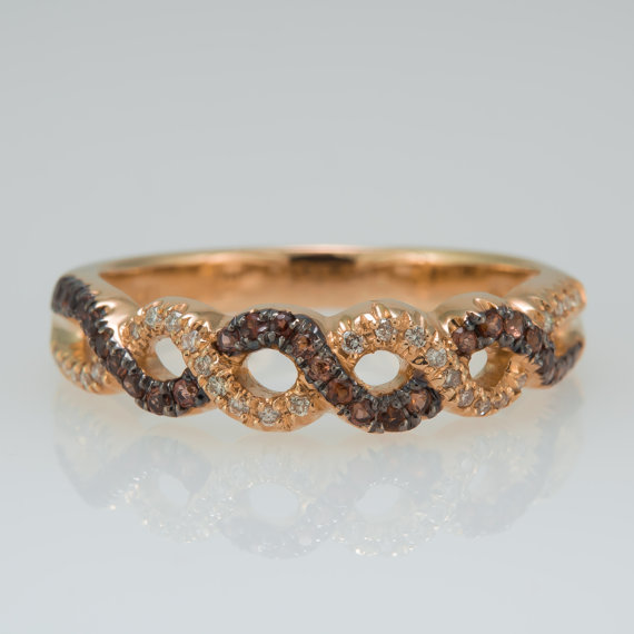 Wedding - Promise ring - Wedding band - Eternity ring - 14k - Twisted ring - Rose gold ring - Eternity band - January's birthstone, April's birthstone