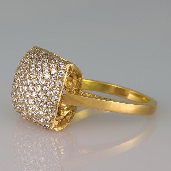 Wedding - Statement ring - Diamond ring - Full Diamonds ring - Statement jewelry - diamond pillow ring - 18k gold - April's birthstone
