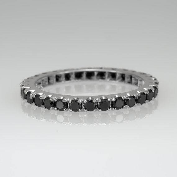 Wedding - Eternity ring - Black diamond ring - Promise ring - Wedding band - Eternity band - April's birthstone, Rose gold ring, Anniversary ring, 14k