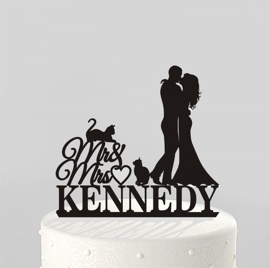 Wedding - Wedding Cake Topper Silhouette Couple Mr & Mrs Personalized with Last Name and 2 cats, Acrylic Cake Topper [CT81nc]
