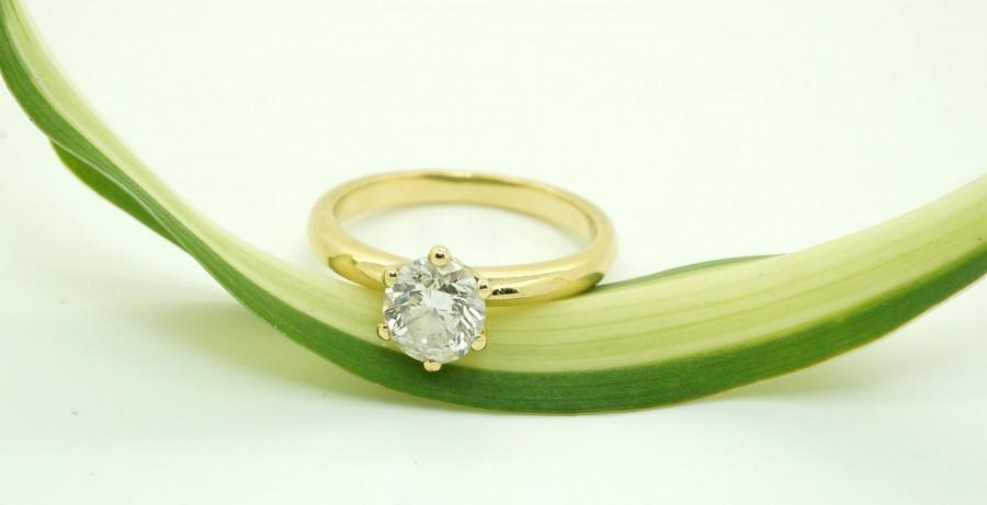 Mariage - Diamond Engagement Ring 0.84 ct-Solitaire ring-14K Yellow Gold -Women Jewelry-promise ring-Bridal Jewelry-Anniversary-wedding&engagement