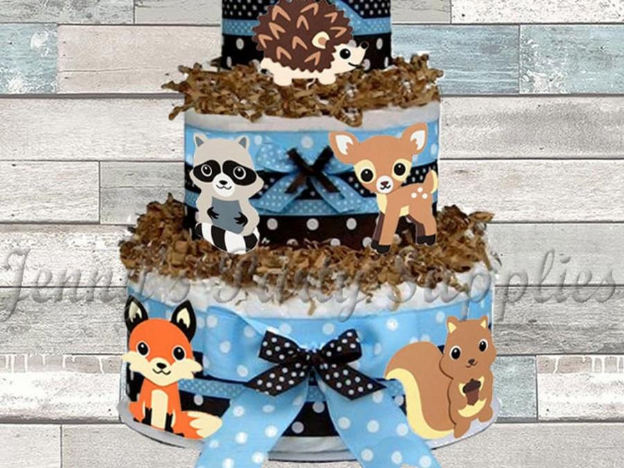 Mariage - Set of 6 Woodland Animals Baby Shower Diaper Cake Toppers, Forest Friends First Birthday Centerpieces