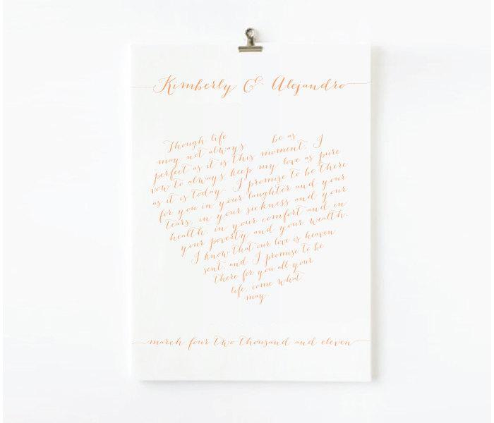 زفاف - Custom Calligraphy Wedding Vows Design (printable) - Your vows