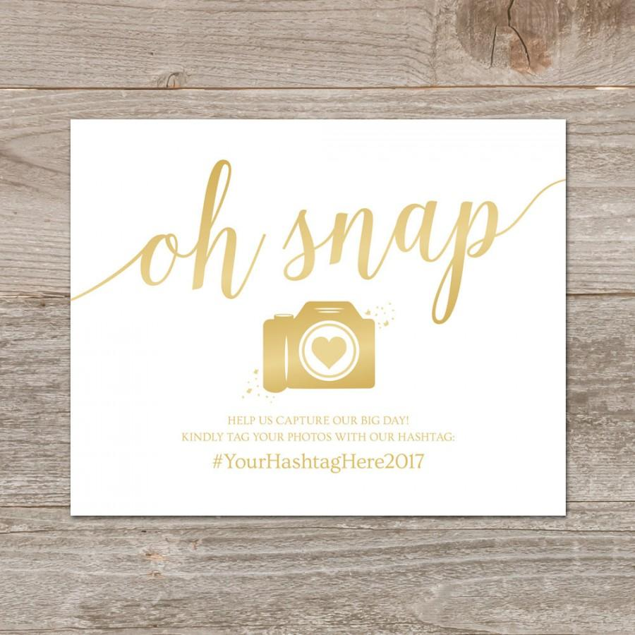 photograph relating to Wedding Sign Printable named Marriage Hashtag Signal Printable // Oh Snap Marriage ceremony Indicator