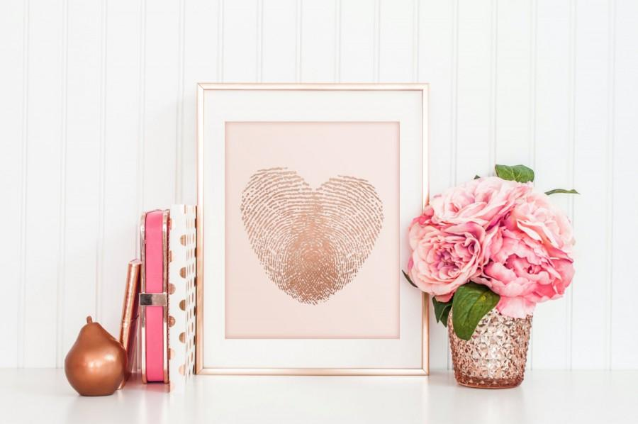 Real Foil Rose Gold And Blush Pink Thumbprint Heart Art