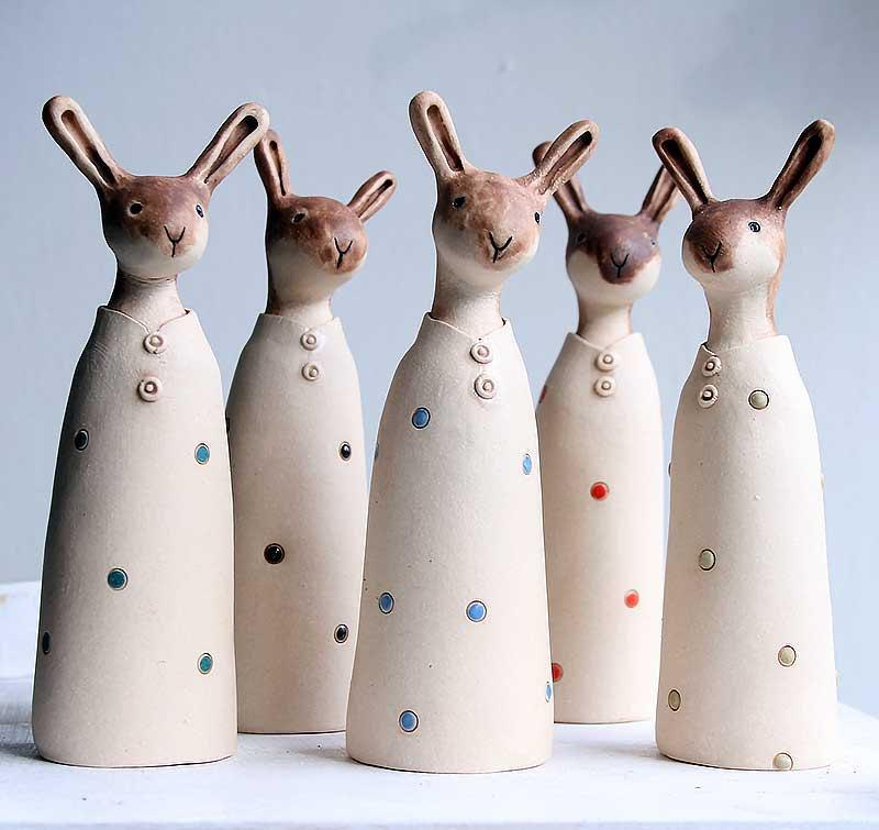 زفاف - Quizzical hare-ceramic ornament-rustic figurine-made to order