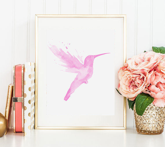 Nursery Prints Hummingbird Print Watercolor Bird Art Pink Wall Animals Baby