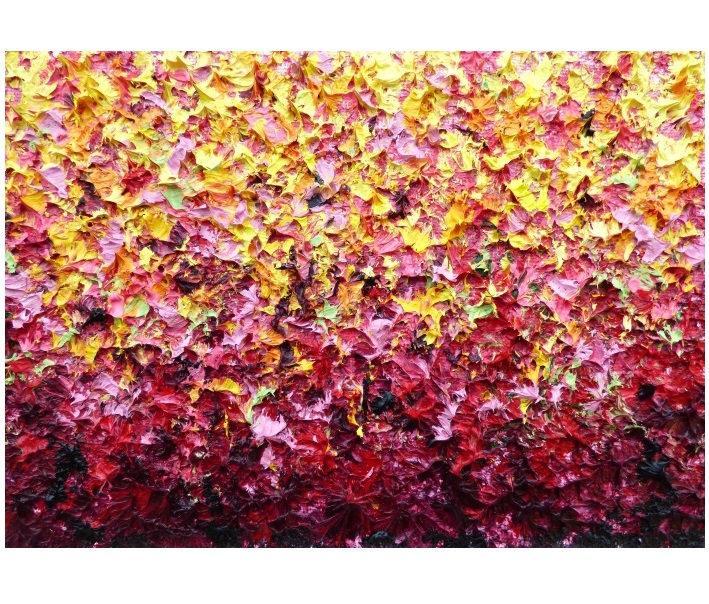 زفاف - Textured Abstract Painting, ORIGINAL Oil Painting, Sculpture Painting, Mini Abstract Art, Warm Tones Yellow Pink Palette Knife Wall Art, 5x7