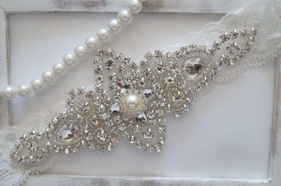 Свадьба - Wedding Garter, Bridal Garter, Vintage Wedding, Lace Garter, Crystal Garter - Style 100