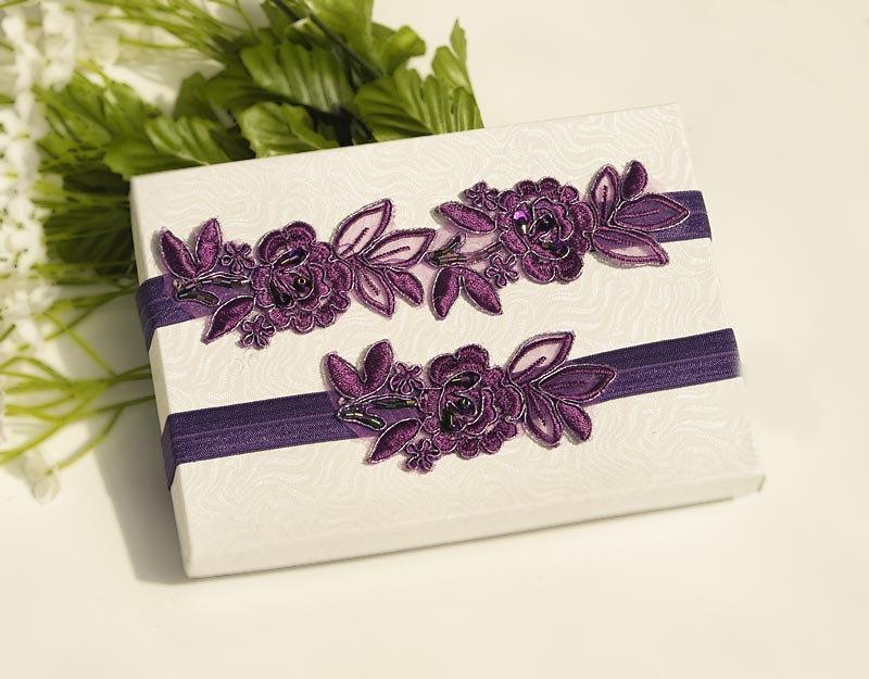 Свадьба - Purple  Beaded Lace Wedding Garter Set , Embroidery  Garter Set, Toss Garter , Keepsake Garter ,Customizable Handmade-GT038