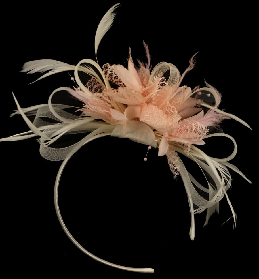 Mariage - Cream Hoop & Baby Pink Feathers Fascinator On Headband for Weddings and Ascot Races